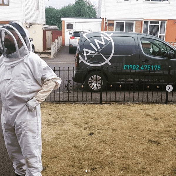 our pest control redditch technician dressed in his wasp suit as he treats a wasp nest