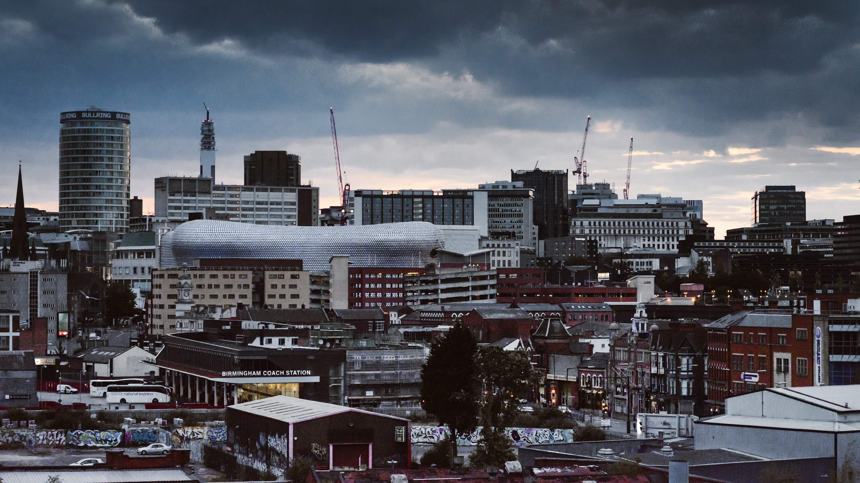 Birmingham skyline - an city covered by our pest control Birmingham experts